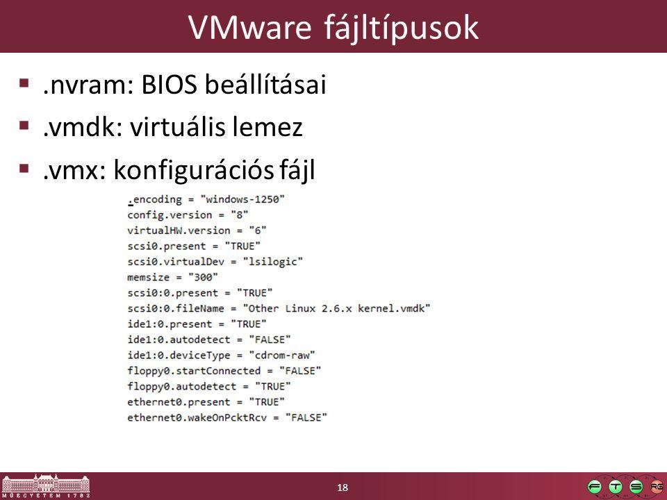VMware fájltípusok .nvram: BIOS beállításai .vmdk: virtuális lemez