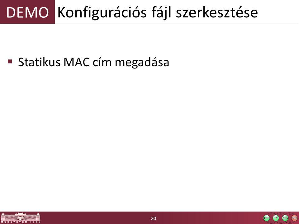 Konfigurációs fájl szerkesztése