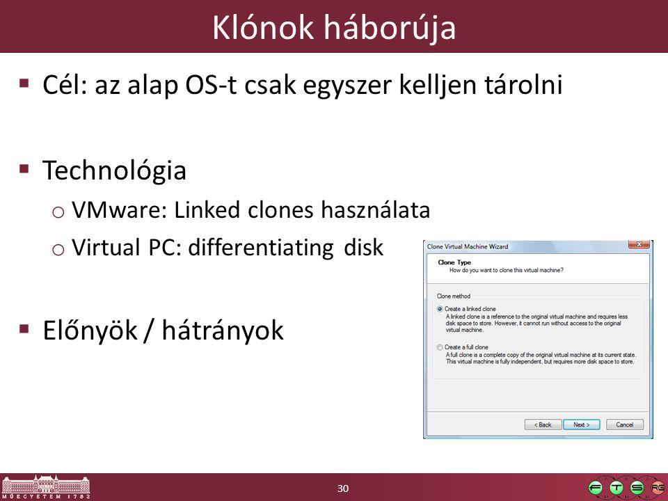 Klónok háborúja Cél: az alap OS-t csak egyszer kelljen tárolni