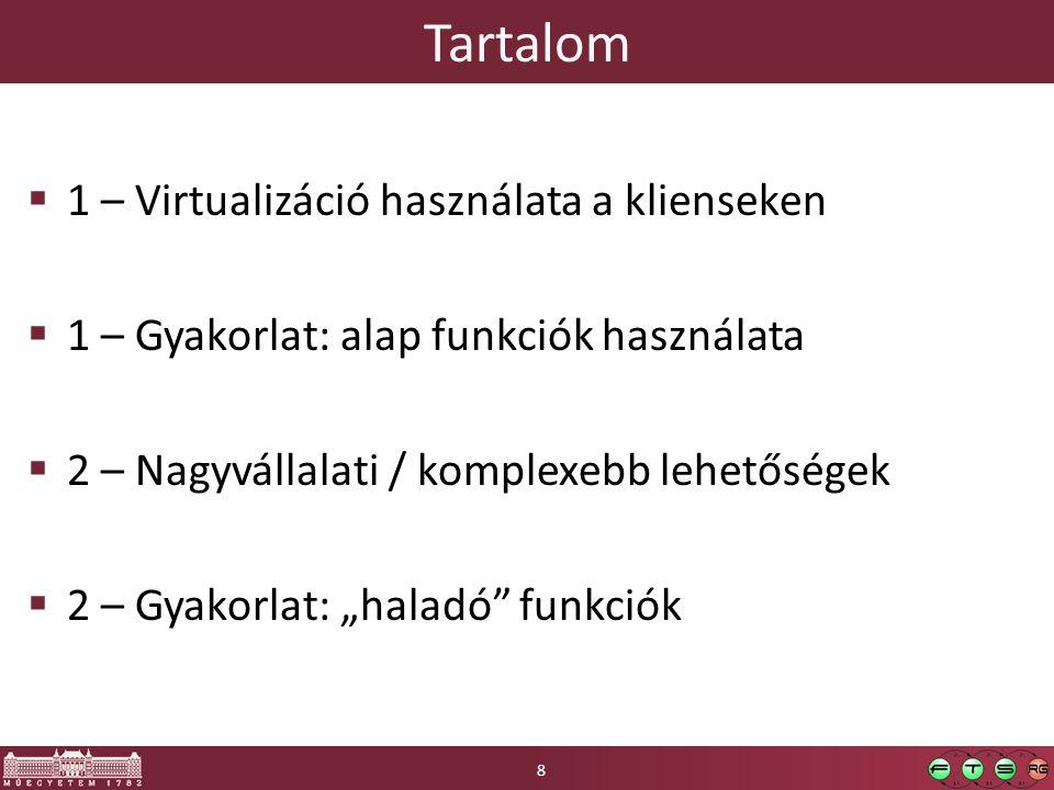 Tartalom 1 – Virtualizáció használata a klienseken