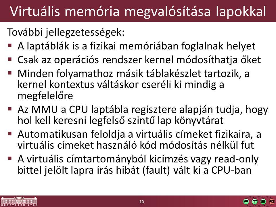 Virtuális memória megvalósítása lapokkal