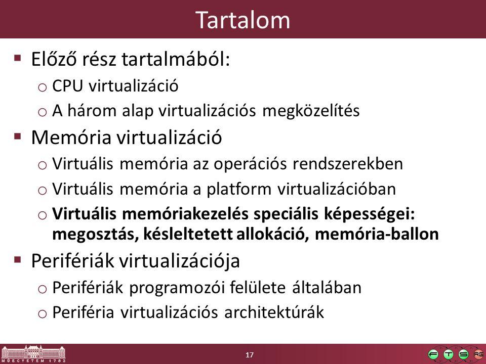 Tartalom Előző rész tartalmából: Memória virtualizáció
