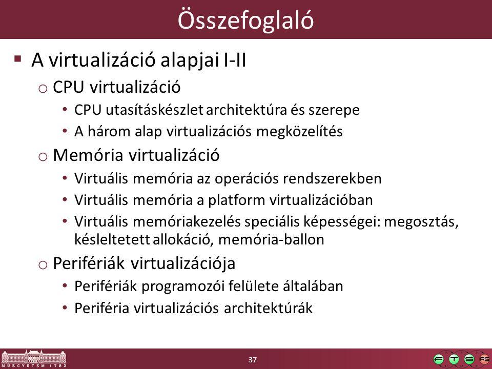 Összefoglaló A virtualizáció alapjai I-II CPU virtualizáció