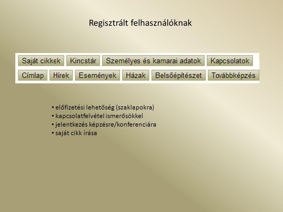 Regisztrált felhasználóknak