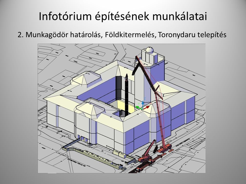 Infotórium építésének munkálatai
