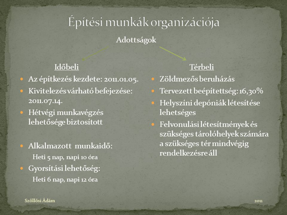 Építési munkák organizációja