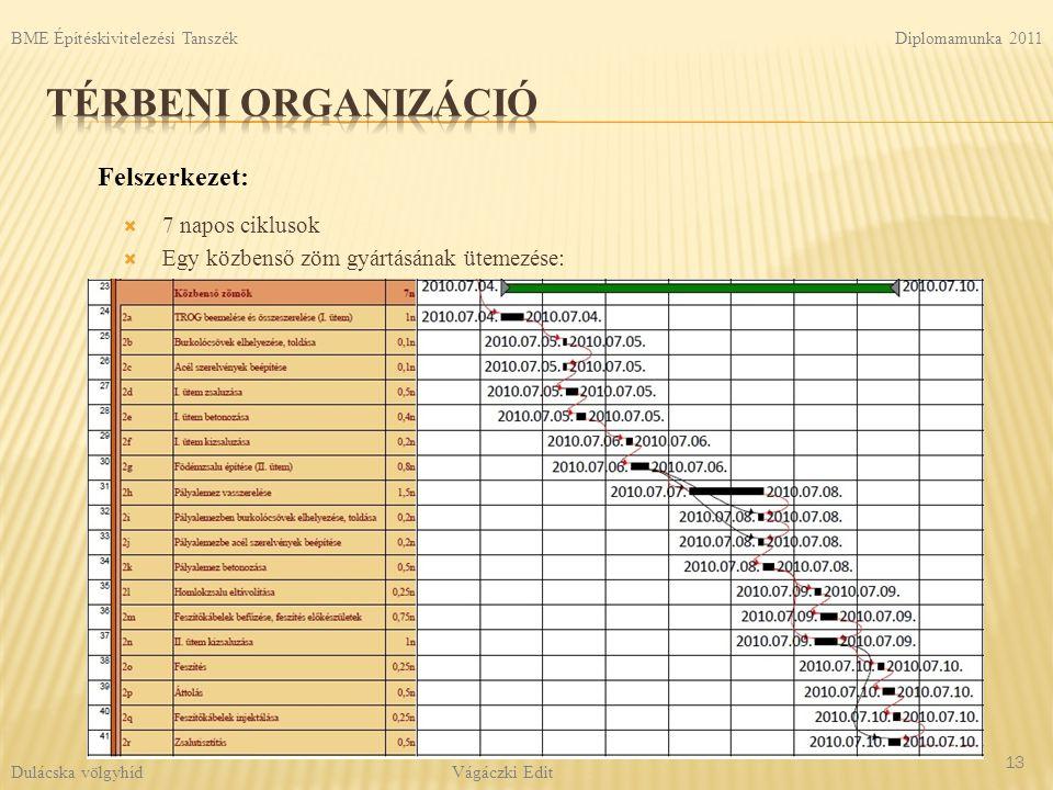 Térbeni organizáció Felszerkezet: 7 napos ciklusok