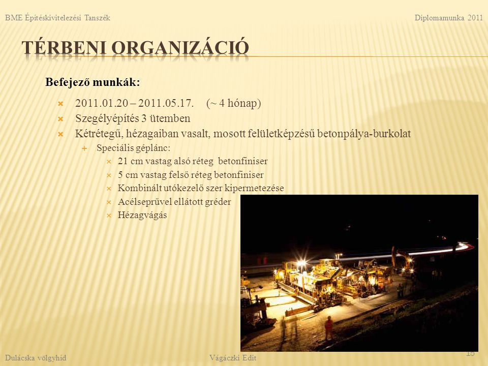Térbeni organizáció Befejező munkák: