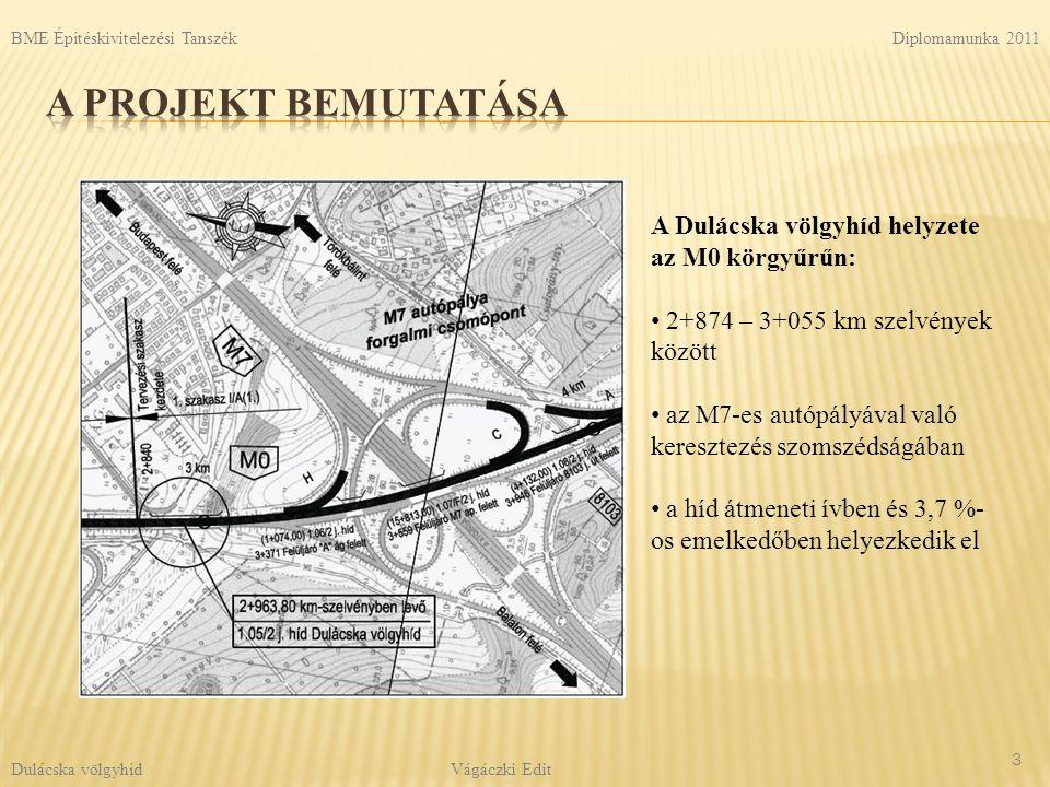 A projekt bemutatása A Dulácska völgyhíd helyzete az M0 körgyűrűn: