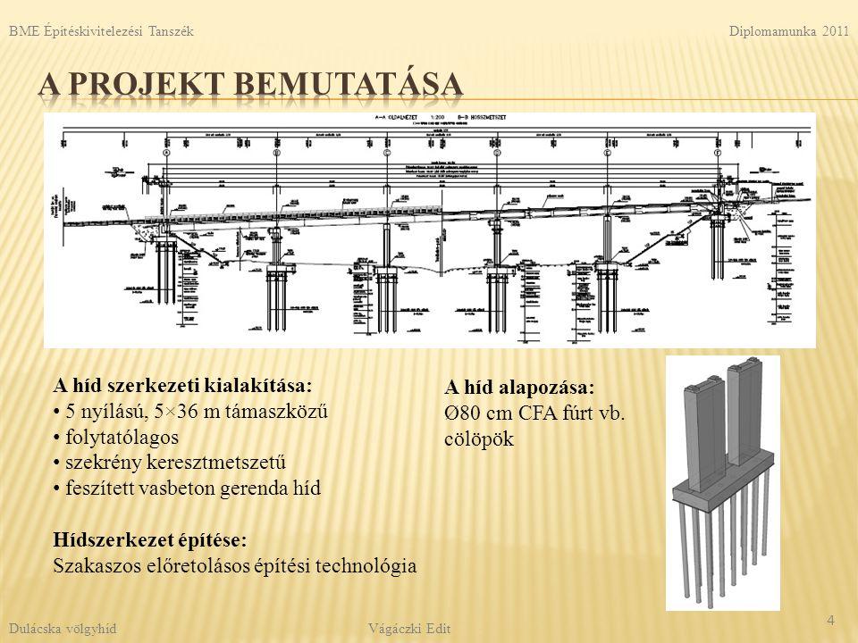 A projekt bemutatása A híd szerkezeti kialakítása: