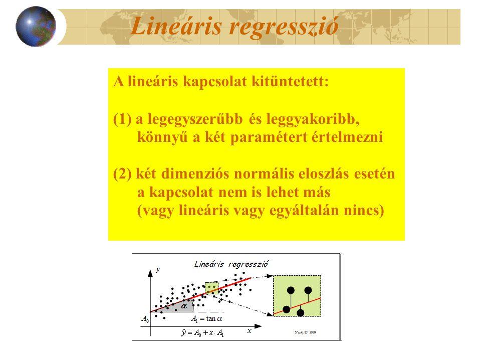Lineáris regresszió A lineáris kapcsolat kitüntetett: