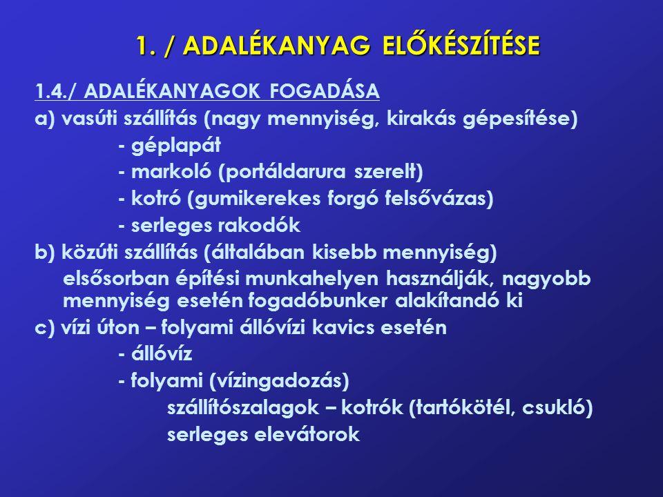 1. / ADALÉKANYAG ELŐKÉSZÍTÉSE