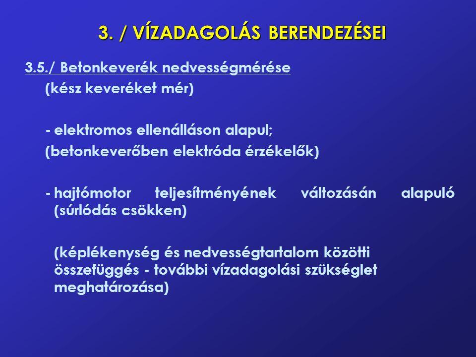 3. / VÍZADAGOLÁS BERENDEZÉSEI