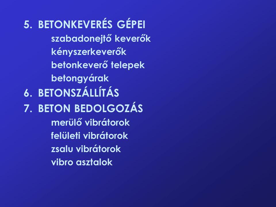 5. BETONKEVERÉS GÉPEI 6. BETONSZÁLLÍTÁS 7. BETON BEDOLGOZÁS