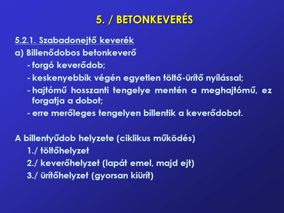 5. / BETONKEVERÉS 5.2.1. Szabadonejtő keverék