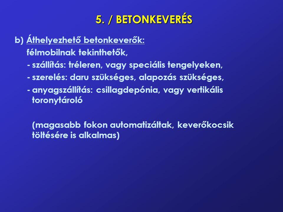5. / BETONKEVERÉS b) Áthelyezhető betonkeverők: