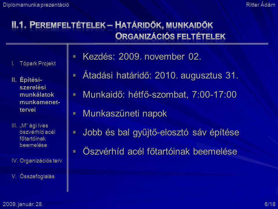 II.1. Peremfeltételek – Határidők, munkaidők Organizációs feltételek