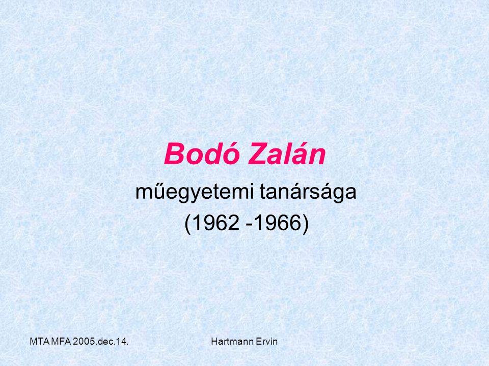 műegyetemi tanársága (1962 -1966)