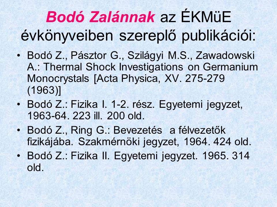 Bodó Zalánnak az ÉKMüE évkönyveiben szereplő publikációi: