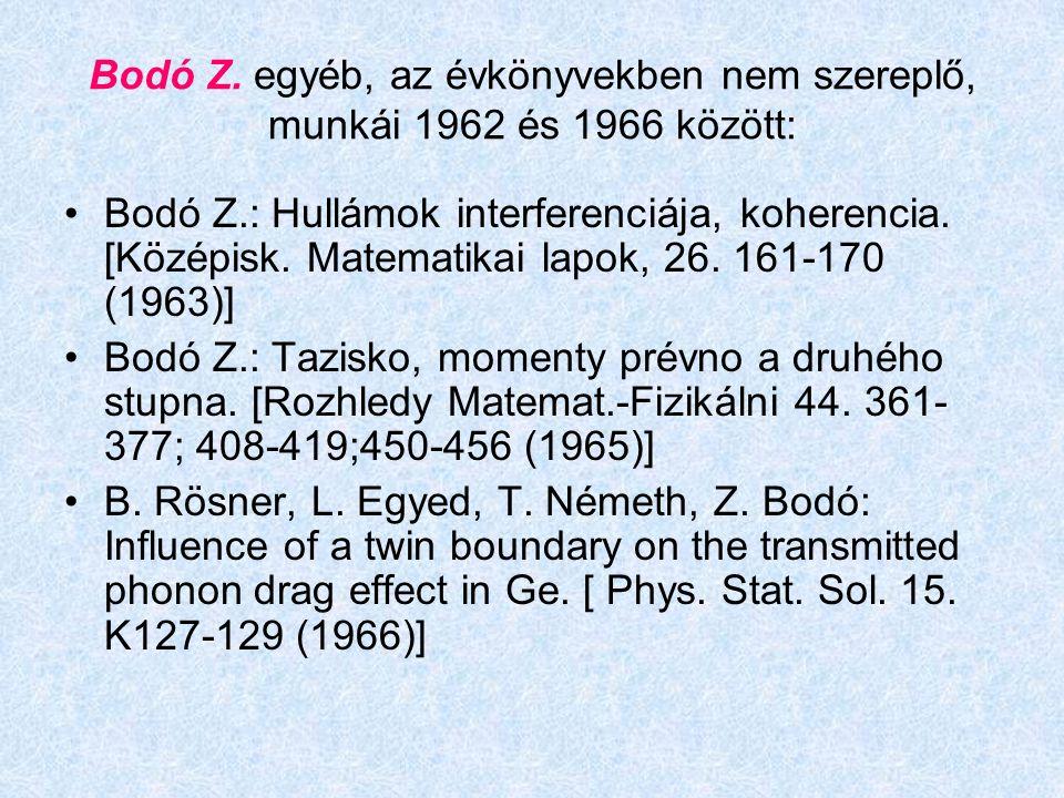 Bodó Z. egyéb, az évkönyvekben nem szereplő, munkái 1962 és 1966 között: