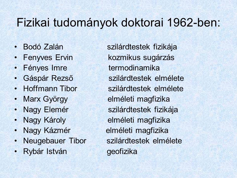 Fizikai tudományok doktorai 1962-ben: