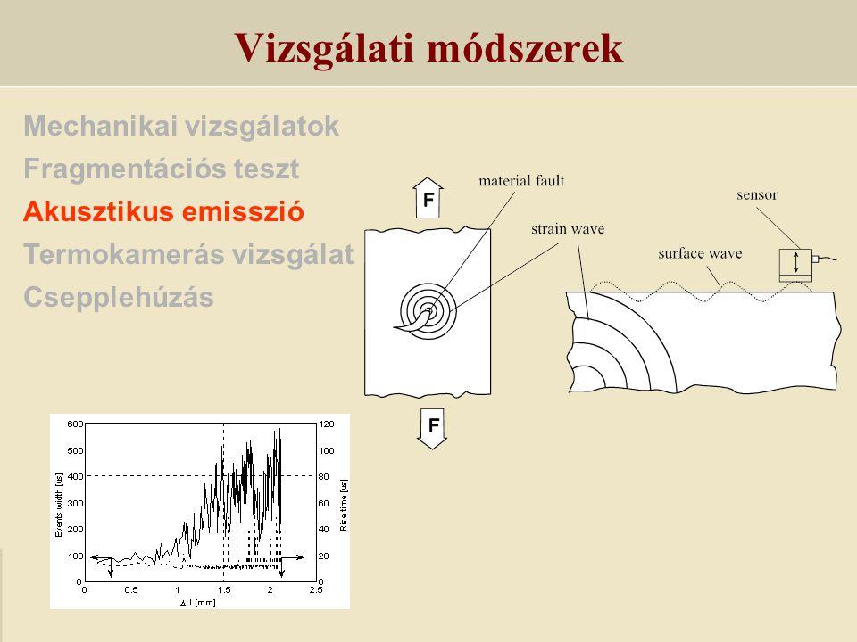 Vizsgálati módszerek Mechanikai vizsgálatok Fragmentációs teszt
