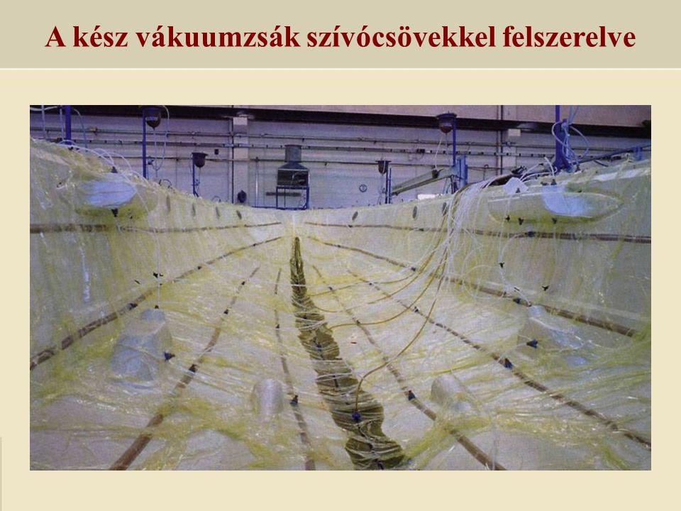A kész vákuumzsák szívócsövekkel felszerelve
