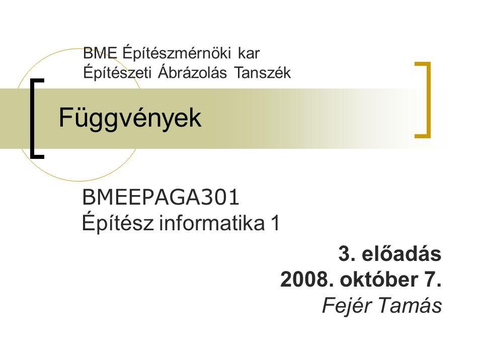 Függvények BMEEPAGA301 Építész informatika 1