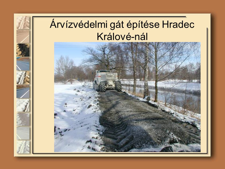 Árvízvédelmi gát építése Hradec Králové-nál