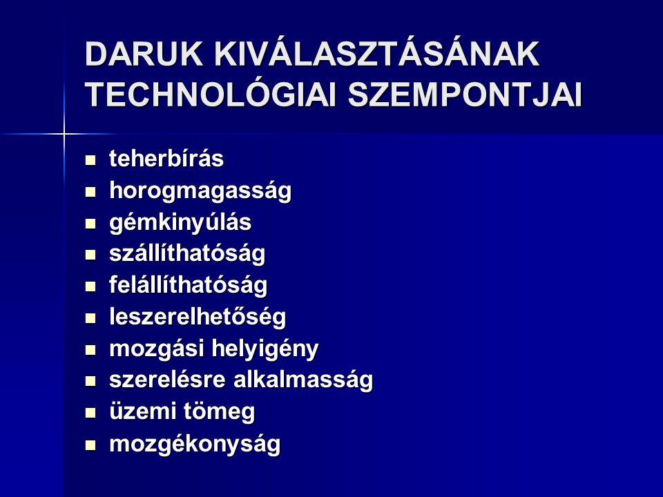 DARUK KIVÁLASZTÁSÁNAK TECHNOLÓGIAI SZEMPONTJAI