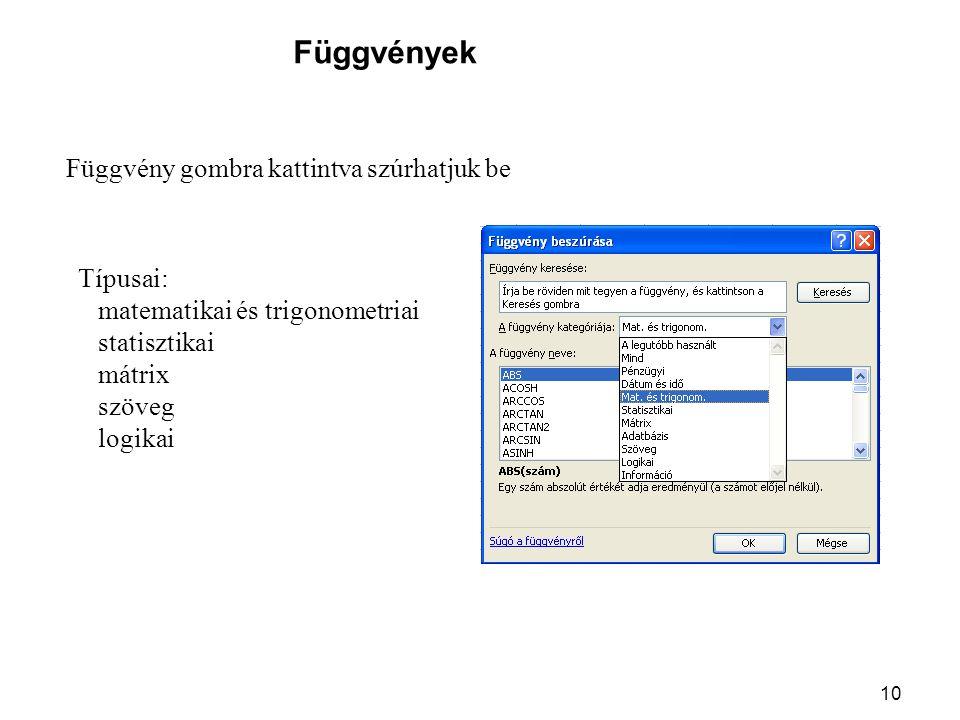 Függvények Függvény gombra kattintva szúrhatjuk be Típusai: