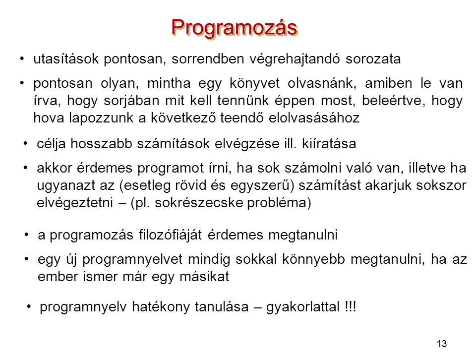 Programozás utasítások pontosan, sorrendben végrehajtandó sorozata