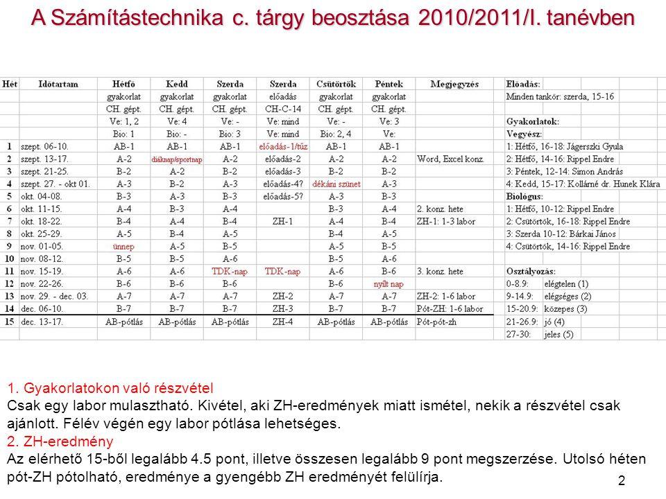 A Számítástechnika c. tárgy beosztása 2010/2011/I. tanévben