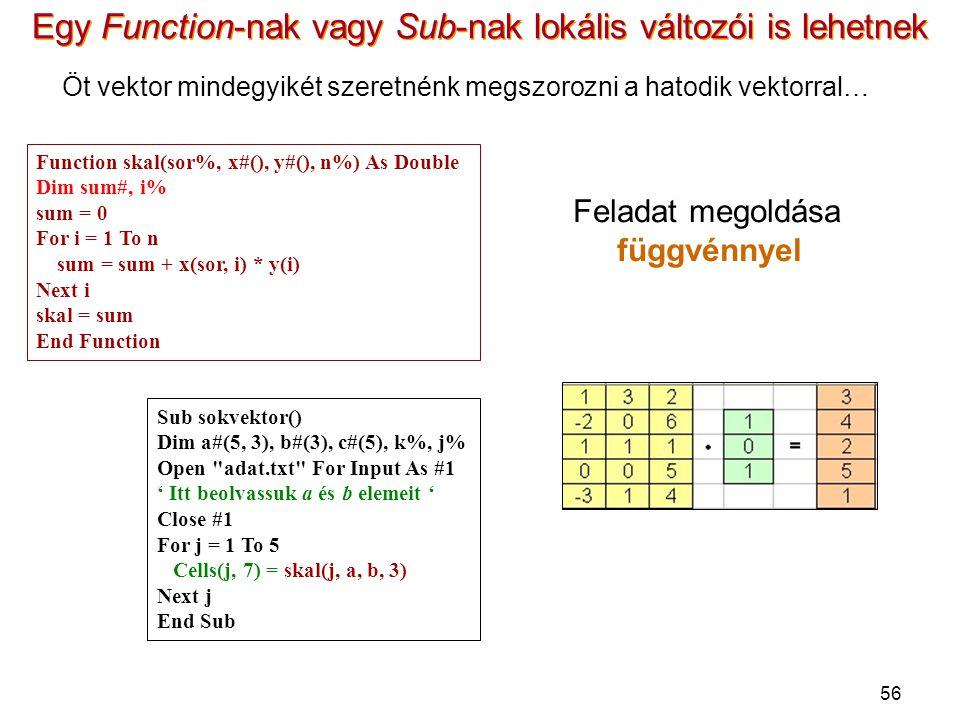 Egy Function-nak vagy Sub-nak lokális változói is lehetnek