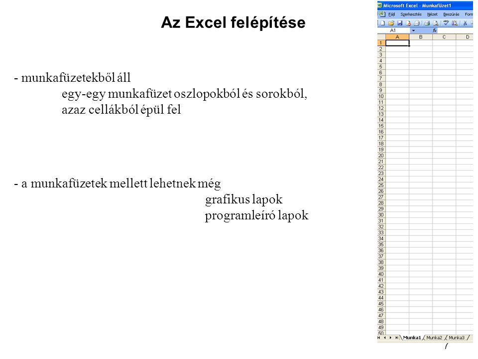 Az Excel felépítése - munkafüzetekből áll