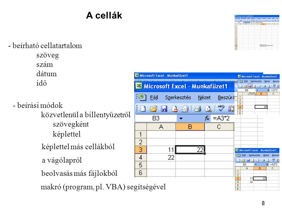 A cellák - beírható cellatartalom szöveg szám dátum idő