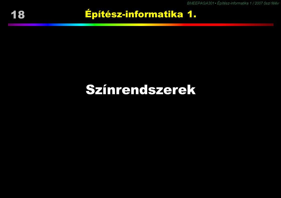 Építész-informatika 1. Színrendszerek