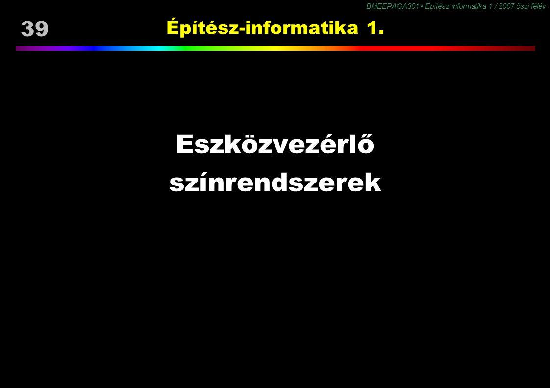 Építész-informatika 1. Eszközvezérlő színrendszerek