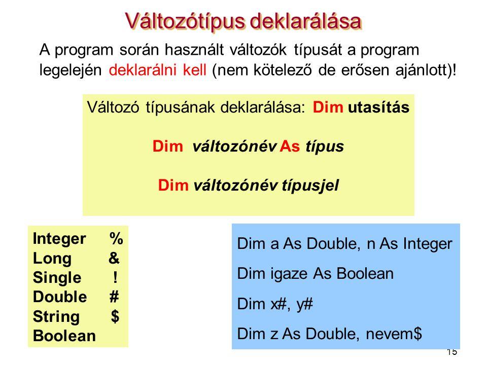 Dim változónév As típus Dim változónév típusjel