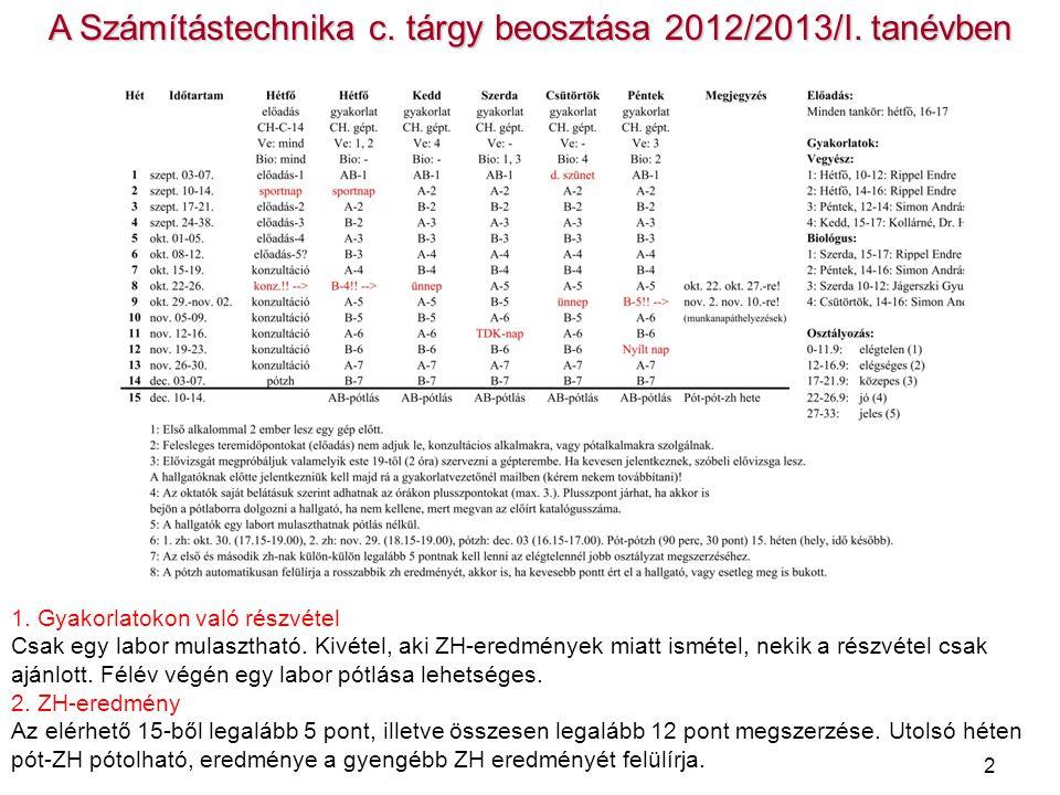 A Számítástechnika c. tárgy beosztása 2012/2013/I. tanévben