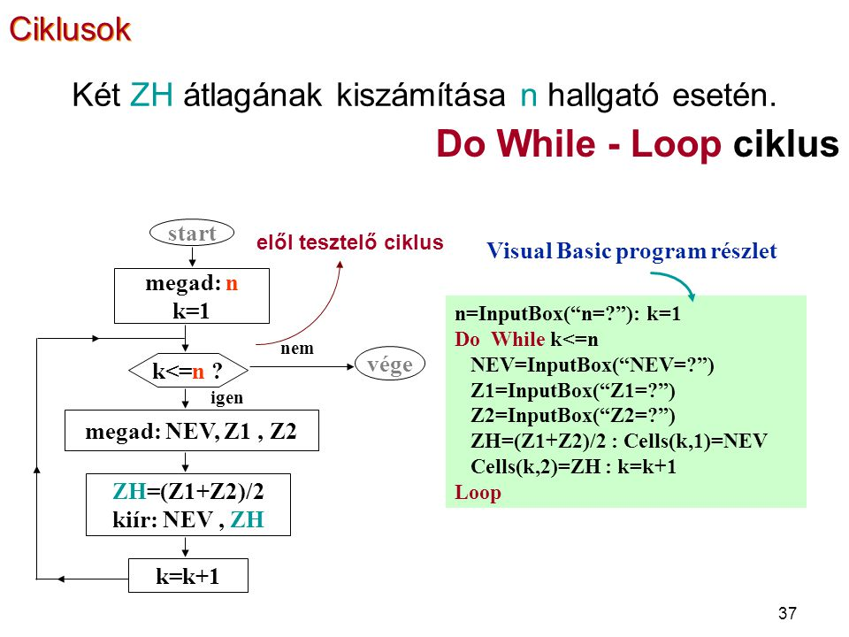 Visual Basic program részlet