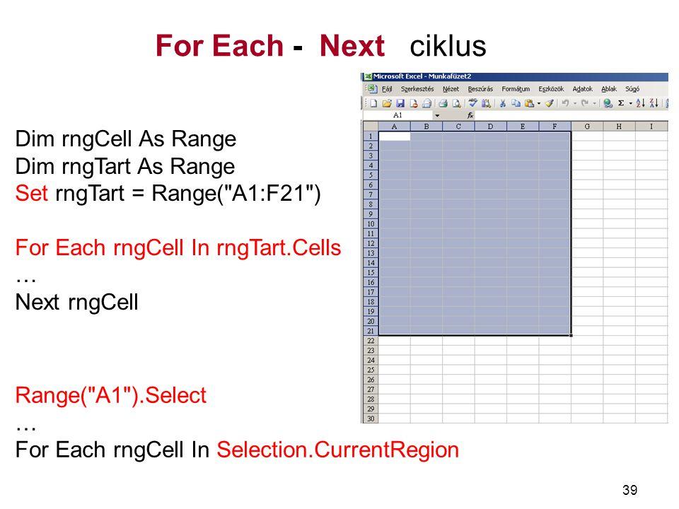 For Each - Next ciklus Dim rngCell As Range Dim rngTart As Range