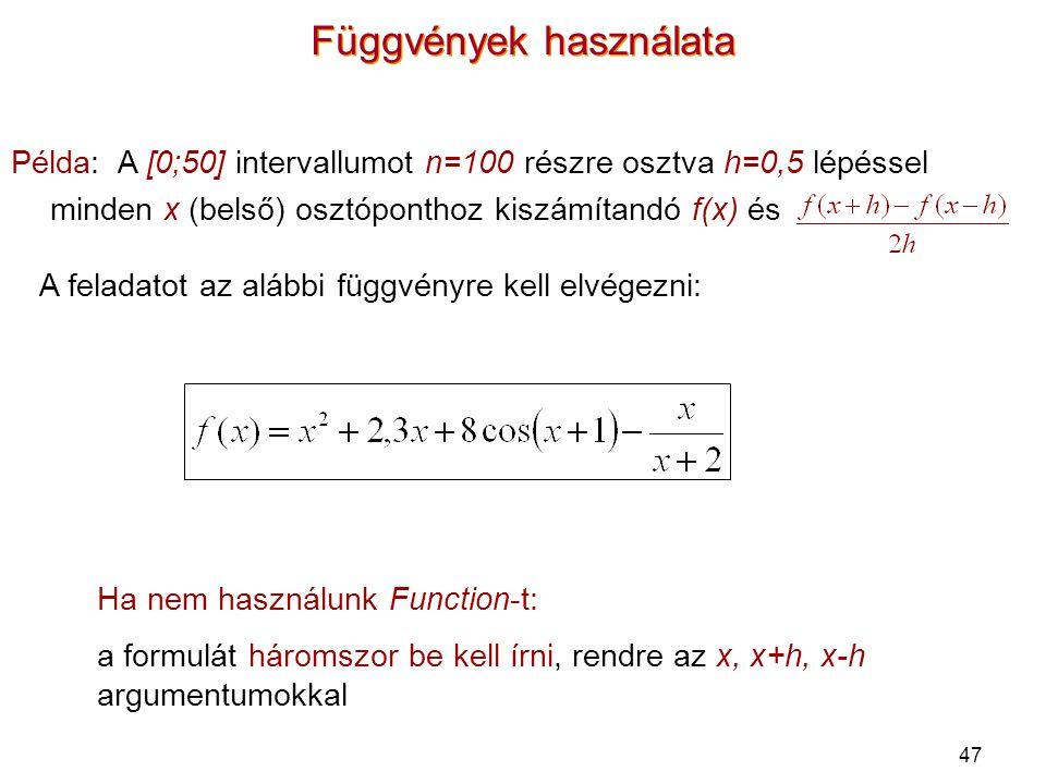 Függvények használata