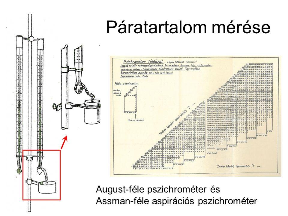 Páratartalom mérése August-féle pszichrométer és Assman-féle aspirációs pszichrométer
