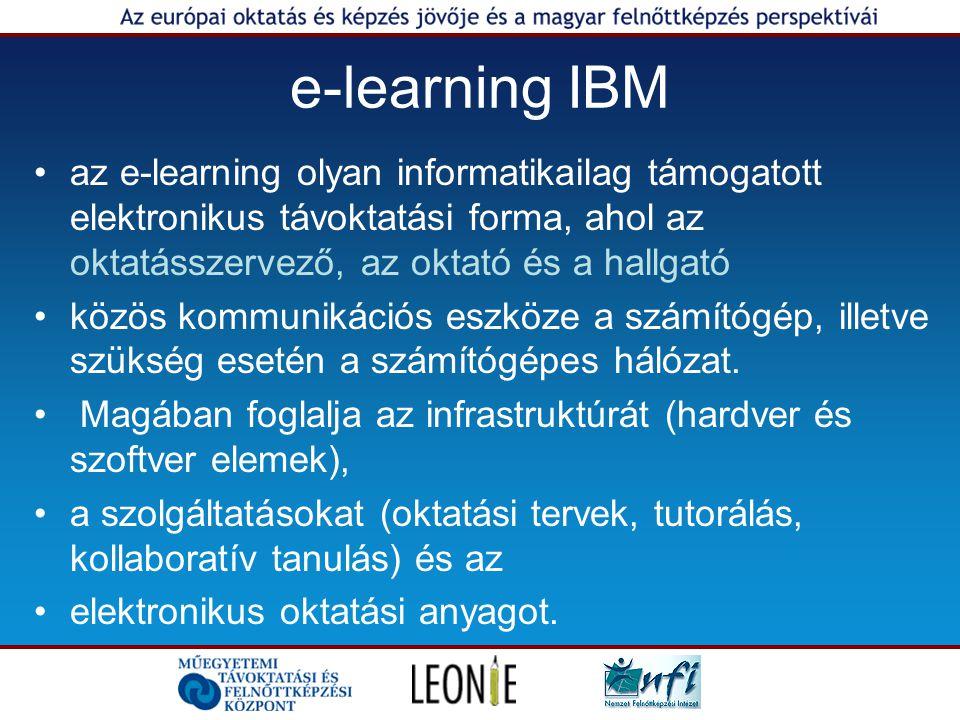e-learning IBM az e-learning olyan informatikailag támogatott elektronikus távoktatási forma, ahol az oktatásszervező, az oktató és a hallgató.