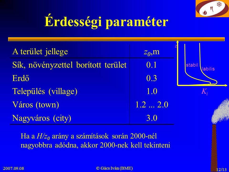 Érdességi paraméter A terület jellege z0,m