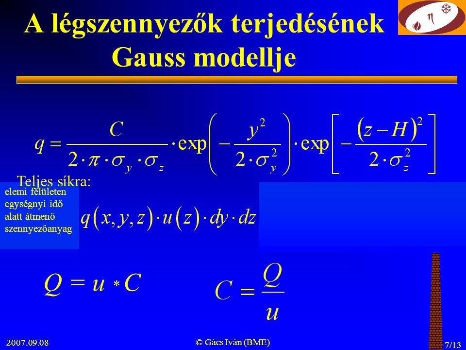 A légszennyezők terjedésének Gauss modellje