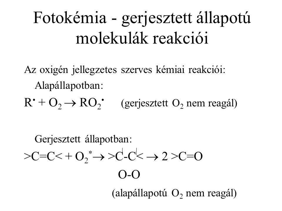 Fotokémia - gerjesztett állapotú molekulák reakciói