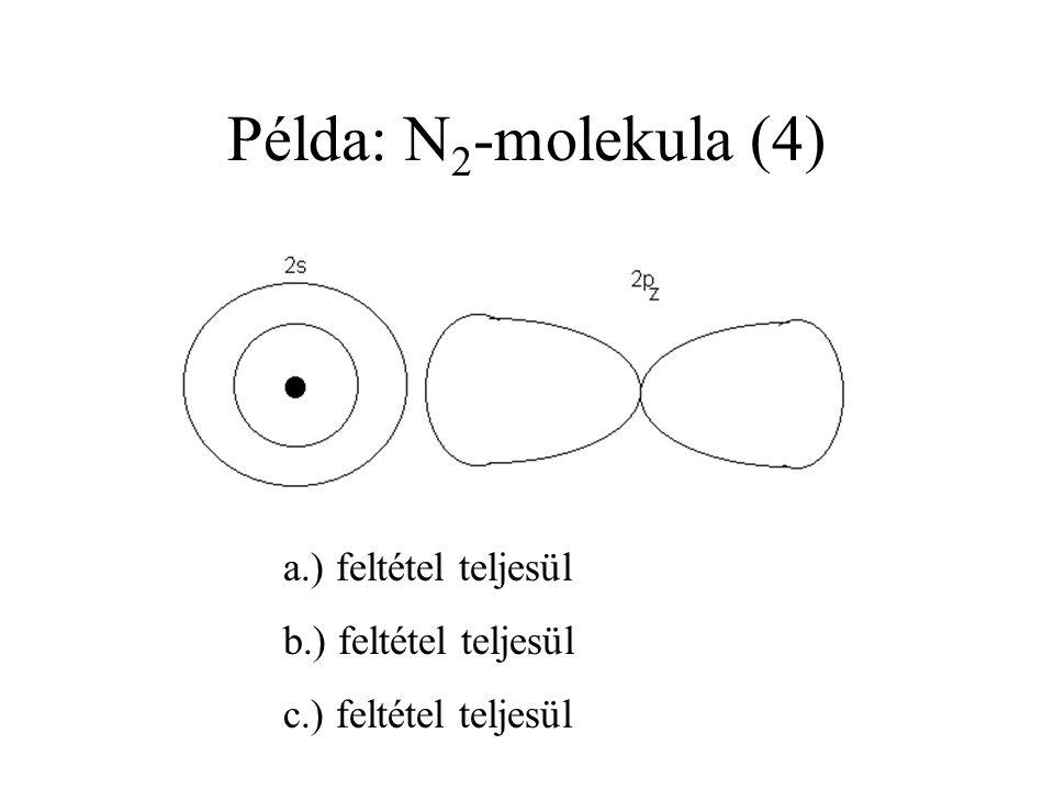 Példa: N2-molekula (4) a.) feltétel teljesül b.) feltétel teljesül