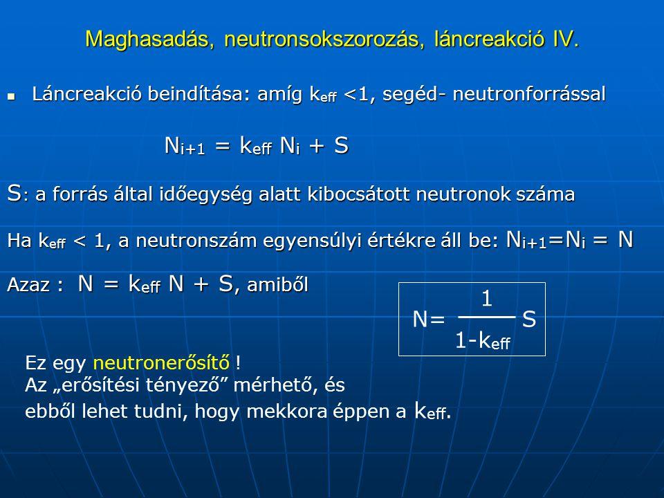 Maghasadás, neutronsokszorozás, láncreakció IV.